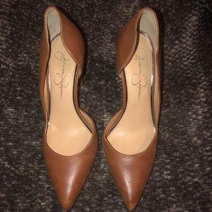 Jessica Simpson tan/ cognac heels 4inch sz 7.5